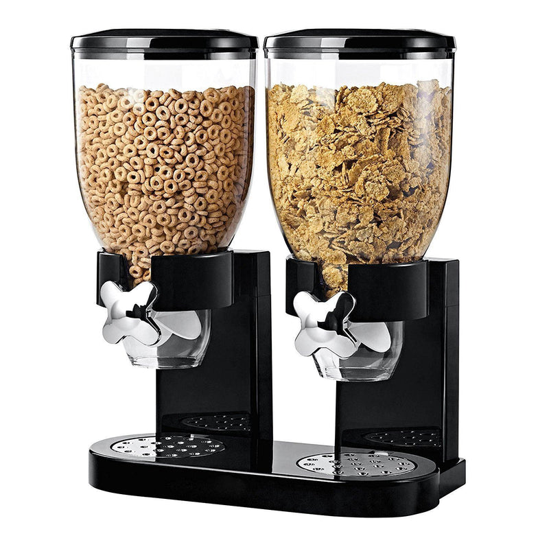 Cereal Dispenser - Single Dry Food Plastic Canister With Stand, Black