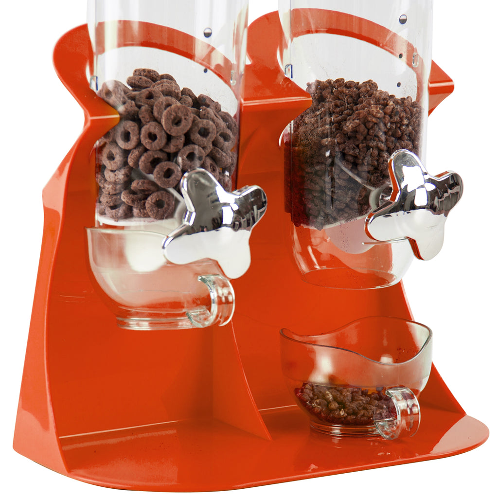 Double Round Cereal Dispenser - Two Dry Food Plastic Canisters, Dark Orange
