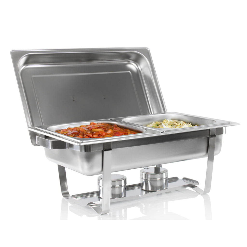 Stainless Steel Chafing Dish Food Pan Warmer - 13.5L Double With 2 Fuel Holders