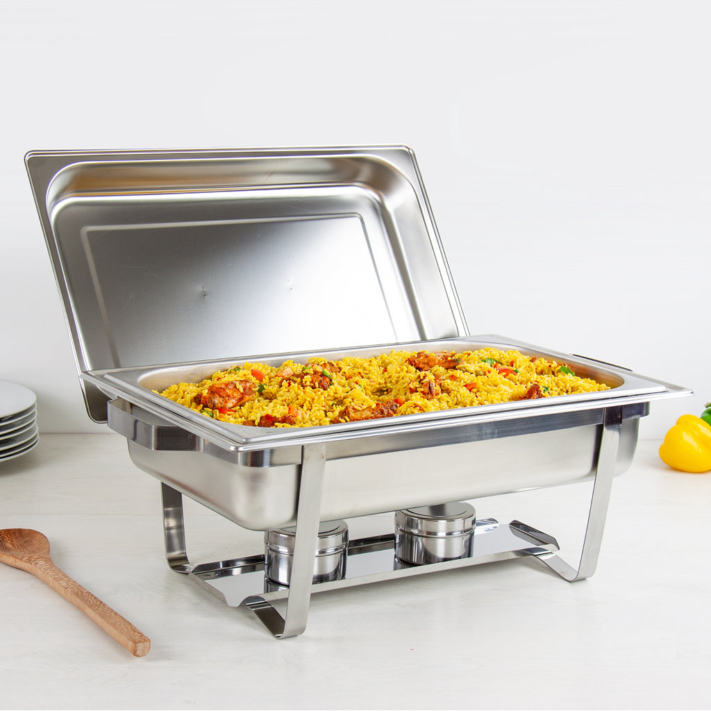 Stainless Steel Chafing Dish Food Pan Warmer - 13.5L Single With 2 Fuel Holders