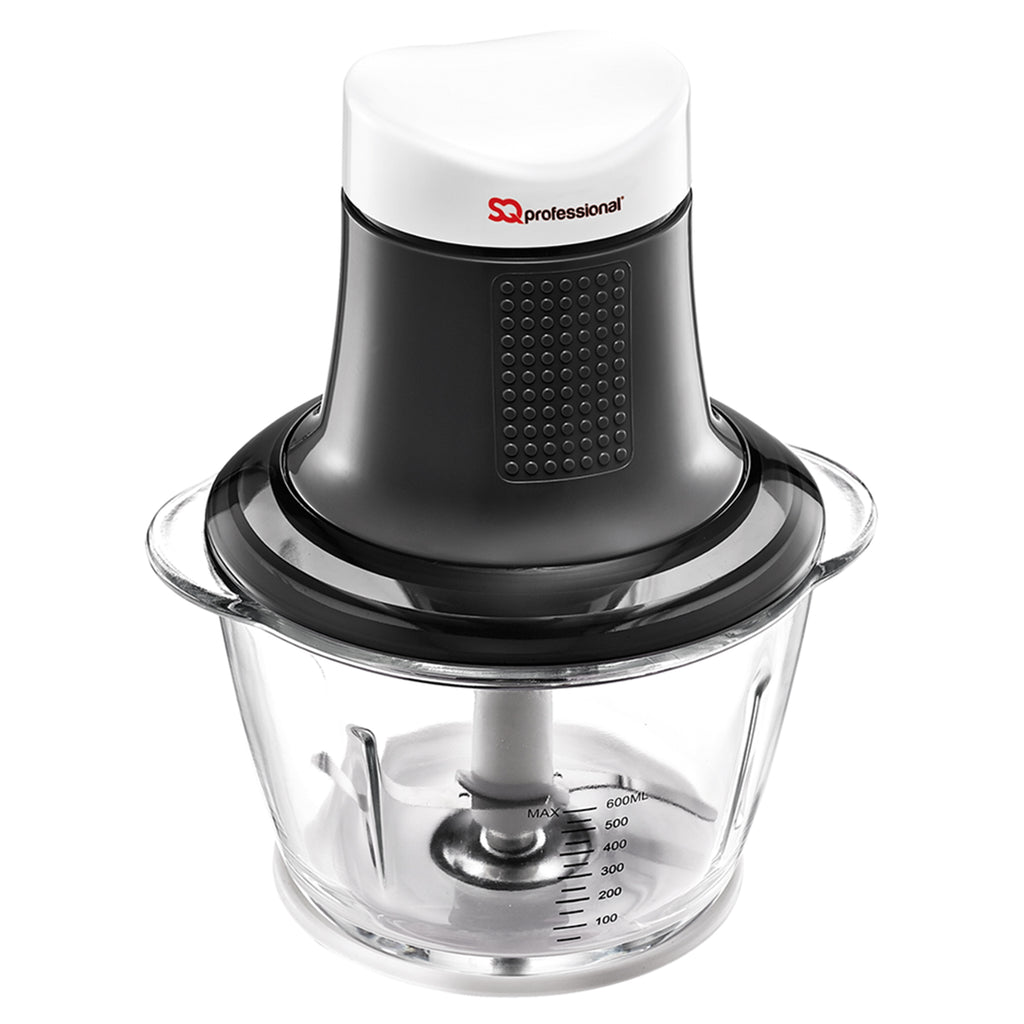 Mini Blitz Chopper - 300W With 600ml Glass Bowl & Stainless Steel Blade, Black