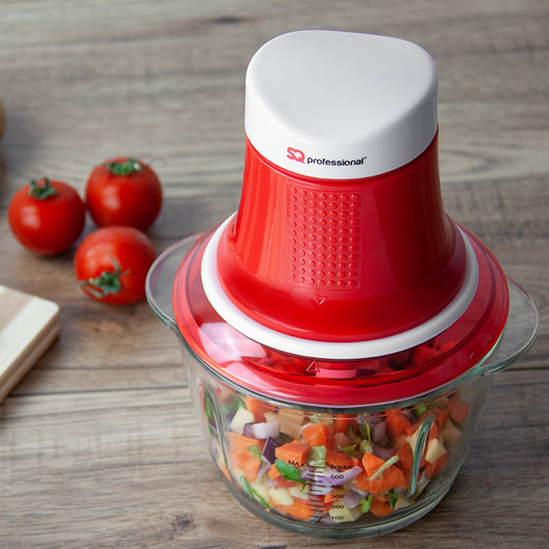 Mini Blitz Chopper - 300W With 600ml Glass Bowl & Stainless Steel Blade, Red