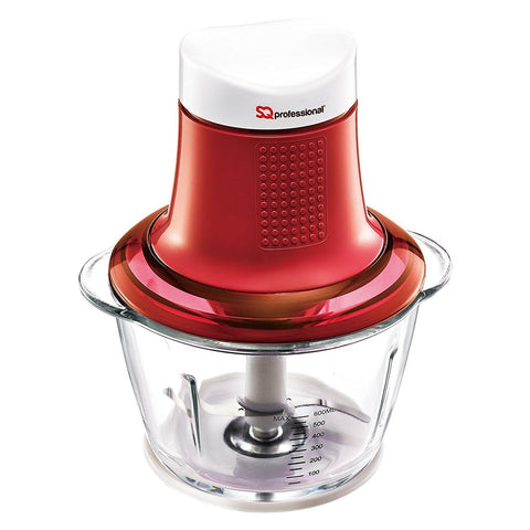 Choppers - Mini Blitz Chopper - 300W With 600ml Glass Bowl & Stainless Steel Blade, Red