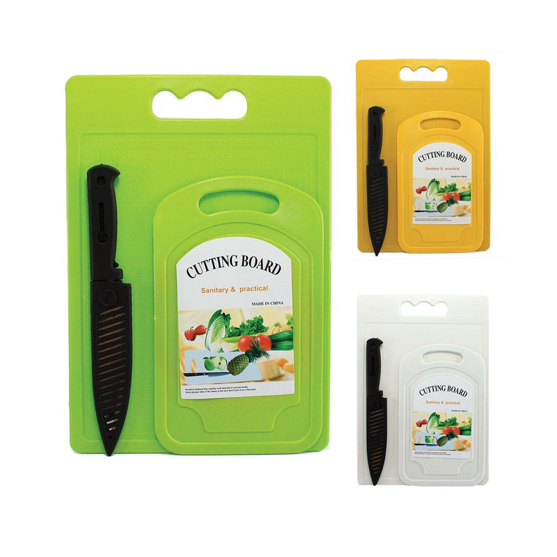Chopping Boards - Plastic Chopping Board 2pc & Knife With Protective Cap Set, Assorted Colours