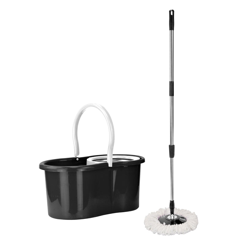 Cleaning Tools & Accessories - Easy Rotary Bucket & Easy Clean Soft Microfibre Mop Cleaning System Set - Black