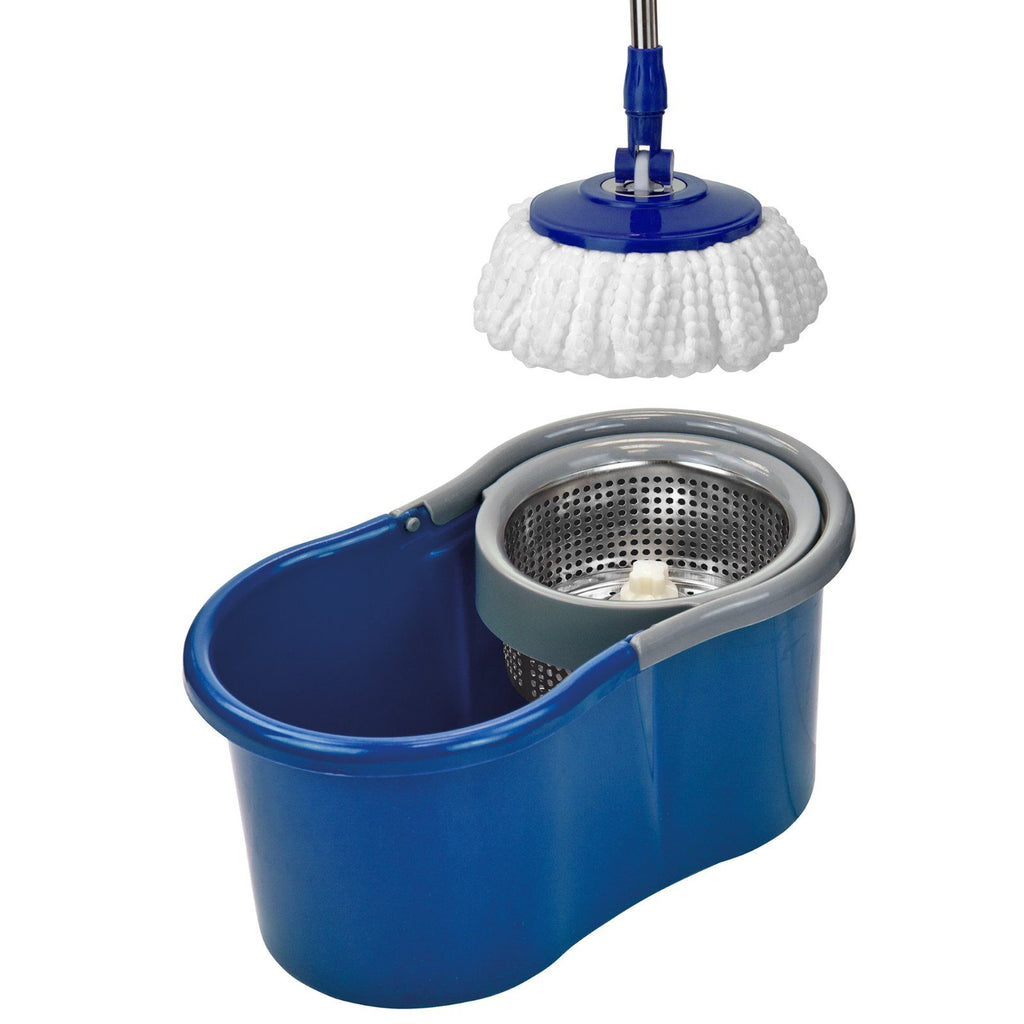 Cleaning Tools & Accessories - Easy Rotary Bucket & Easy Clean Soft Microfibre Mop Cleaning System Set - Blue