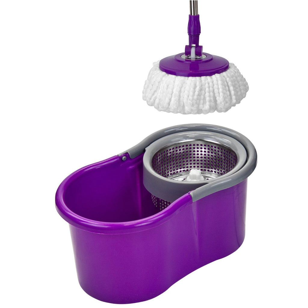 Cleaning Tools & Accessories - Easy Rotary Bucket & Easy Clean Soft Microfibre Mop Cleaning System Set - Purple