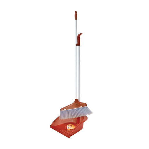 Cleaning Tools & Accessories - Plastic Dustpan And Brush Long Handled Sweeping Set, Stand Up Design