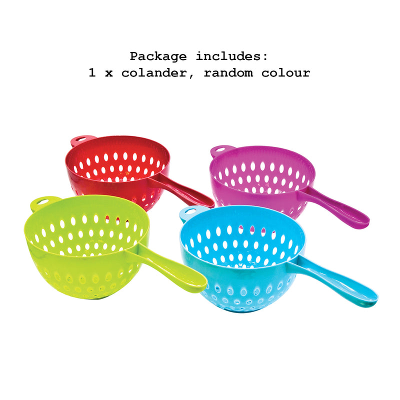 Plastic Colander with Long Handle, 1 Piece - Assorted Colours