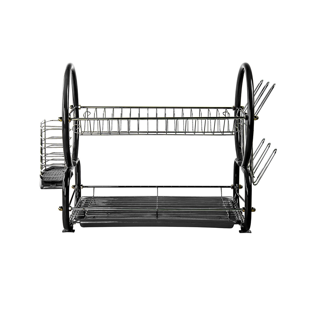 Two Tier Dish Drainer With Cutlery Drainer & Glass Rack, Stainless Steel - Black