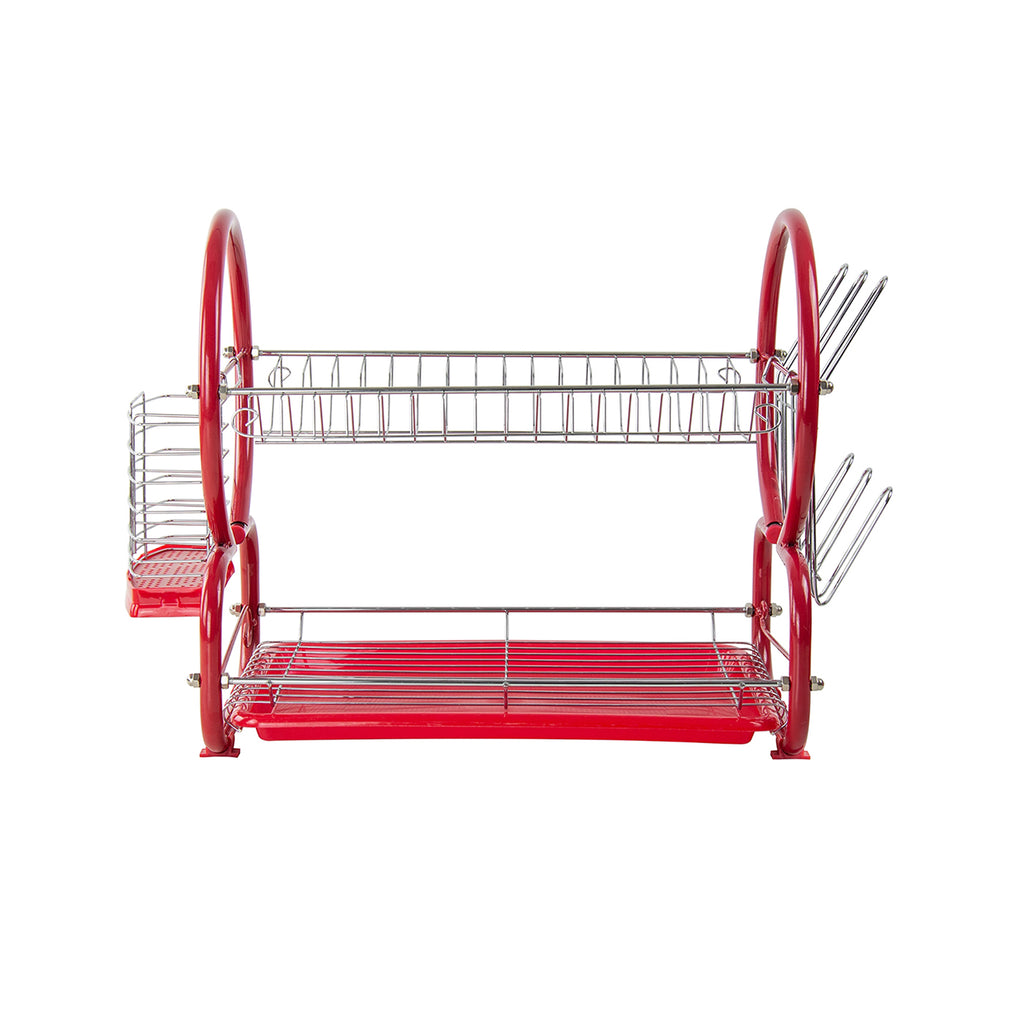Two Tier Dish Drainer With Cutlery Drainer & Glass Rack, Stainless Steel - Red