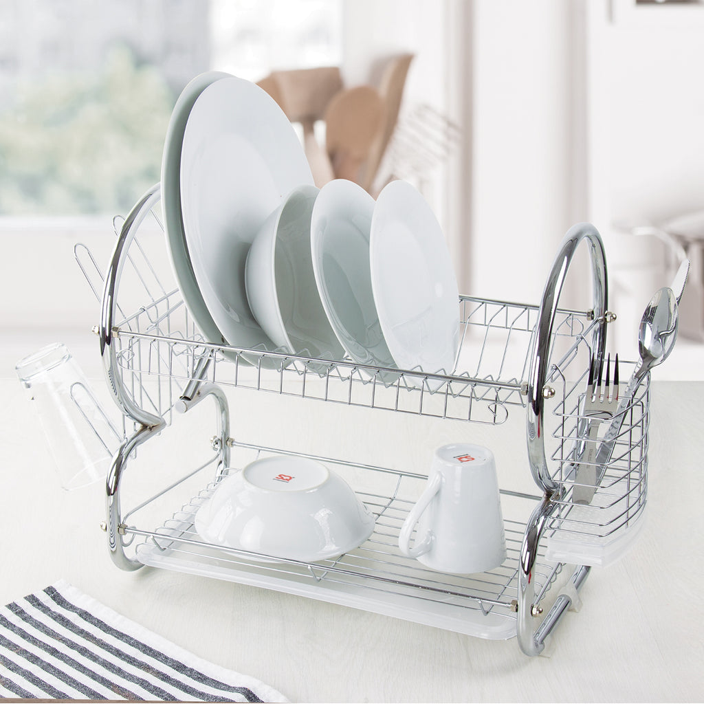 Two Tier Dish Drainer With Cutlery Drainer & Glass Rack, Stainless Steel - Silver