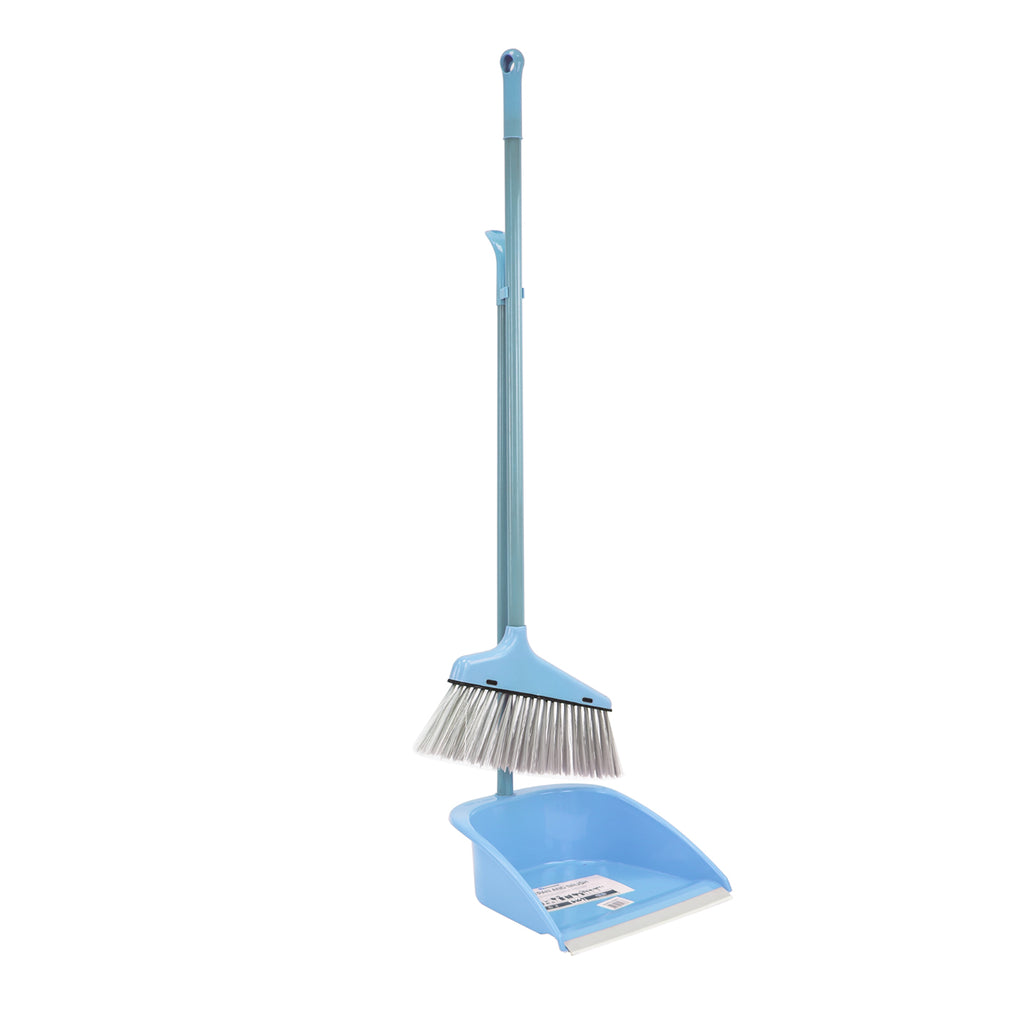 Plastic Dustpan and Brush Long Handled Sweeping Set, Stand Up Design - Blue