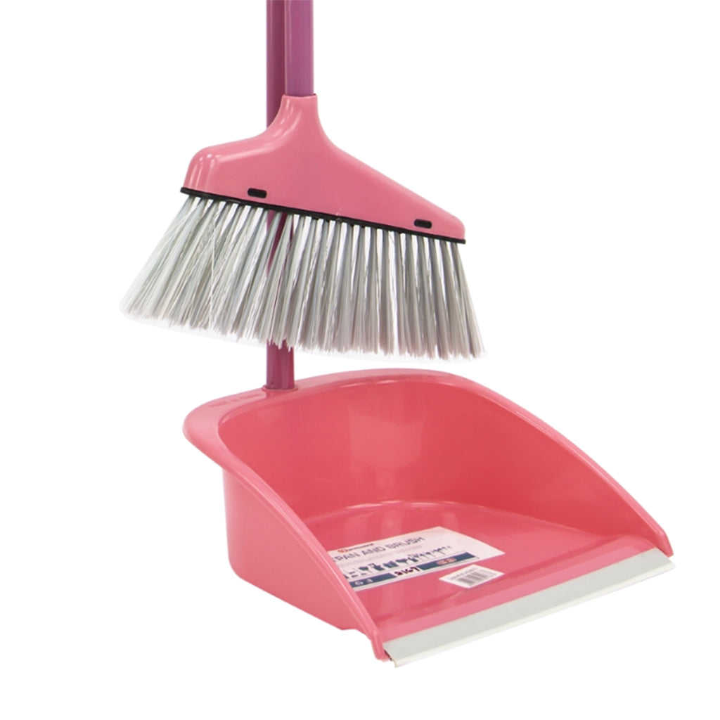 Plastic Dustpan and Brush Long Handled Sweeping Set, Stand Up Design - Pink