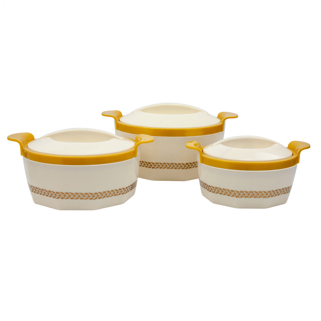 Insulated Serving Dishes - Fionna 3 Piece Thermal Hot Food Containers Set 1 L, 1.5 L & 2.5 L, Beige