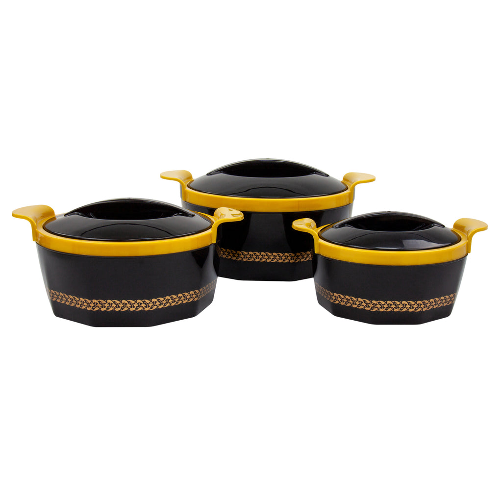 Insulated Serving Dishes - Fionna 3 Piece Thermal Hot Food Containers Set 1 L, 1.5 L & 2.5 L, Black