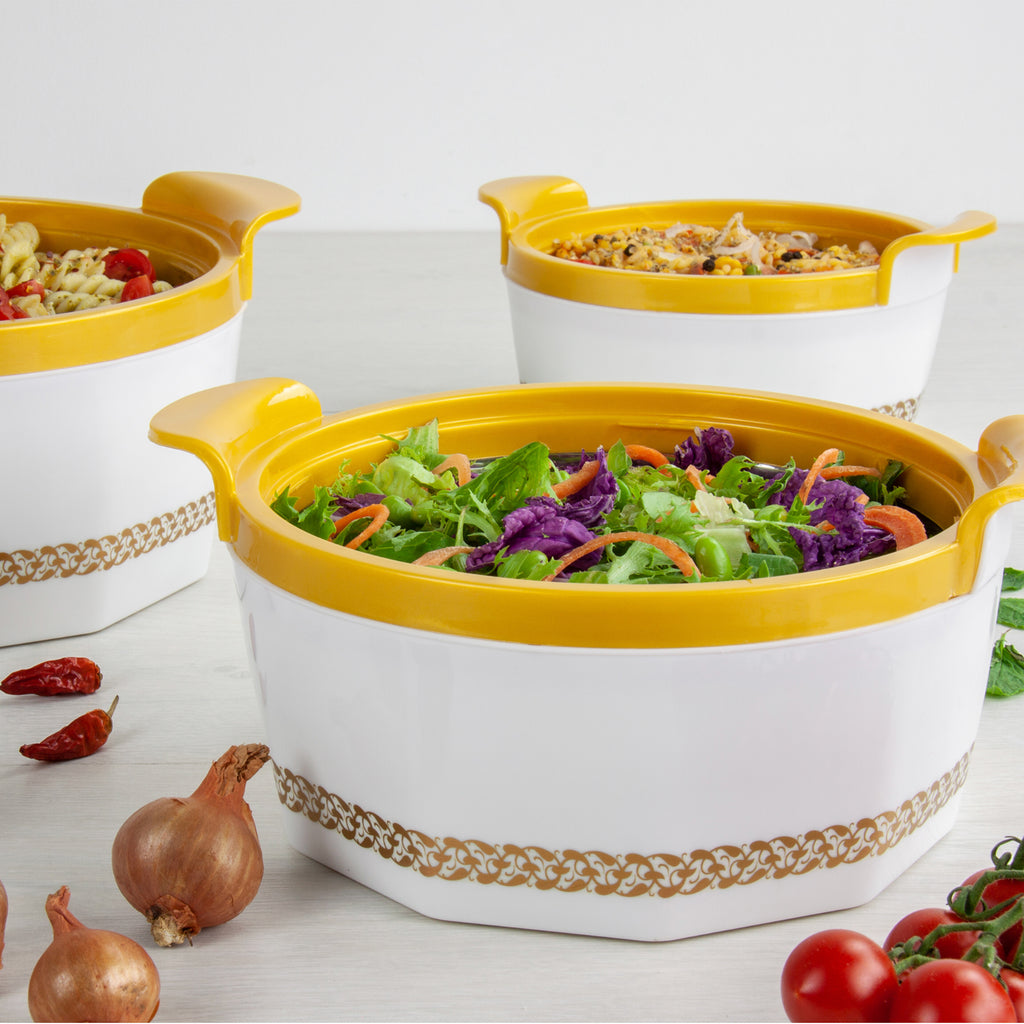 Insulated Serving Dishes - Fionna 3 Piece Thermal Hot Food Containers Set 1 L, 1.5 L & 2.5 L, White