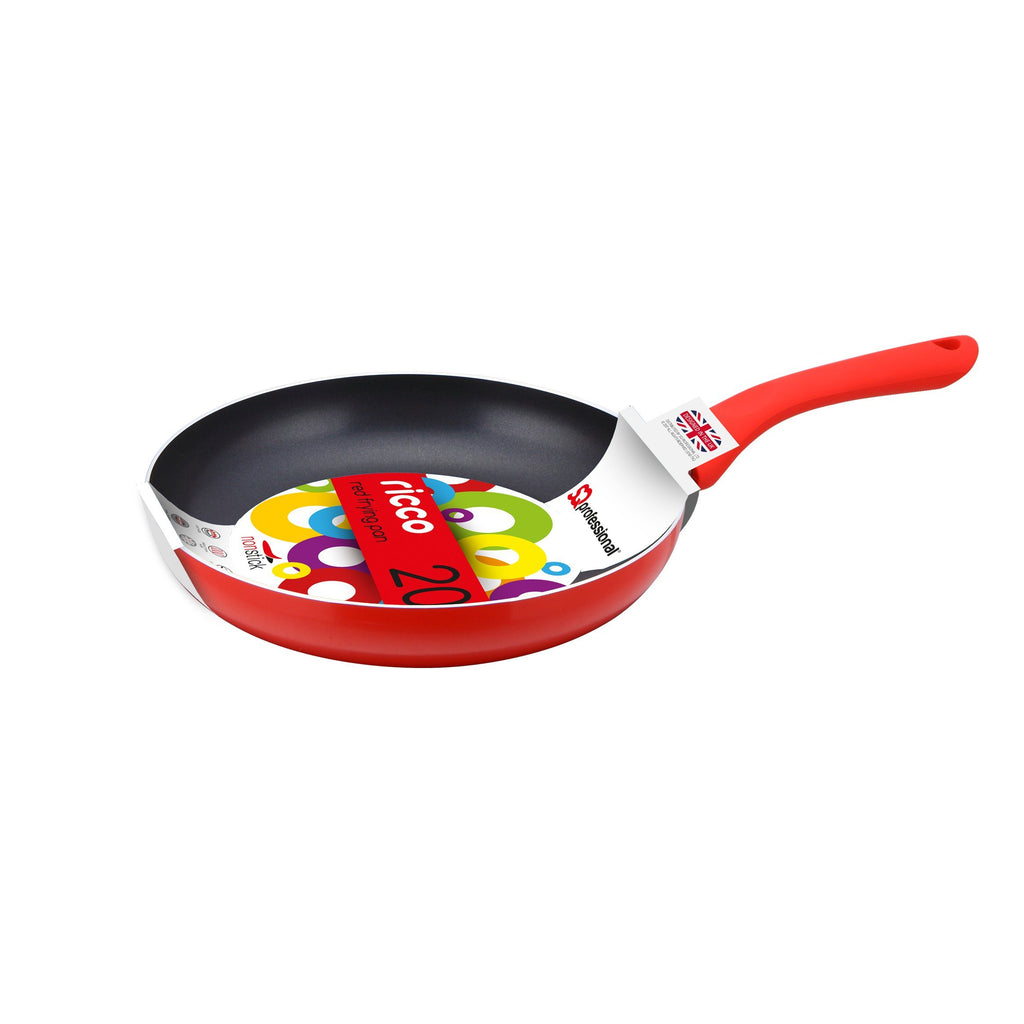 Frying Pans - Ricco Non-stick Ceramic Coated Aluminium Frying Pan 20cm - Red