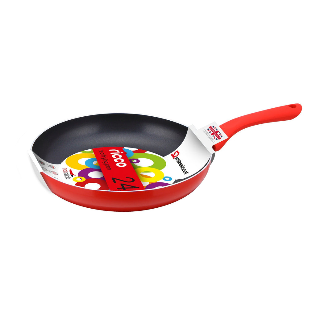 Frying Pans - Ricco Non-stick Ceramic Coated Aluminium Frying Pan 24cm - Red