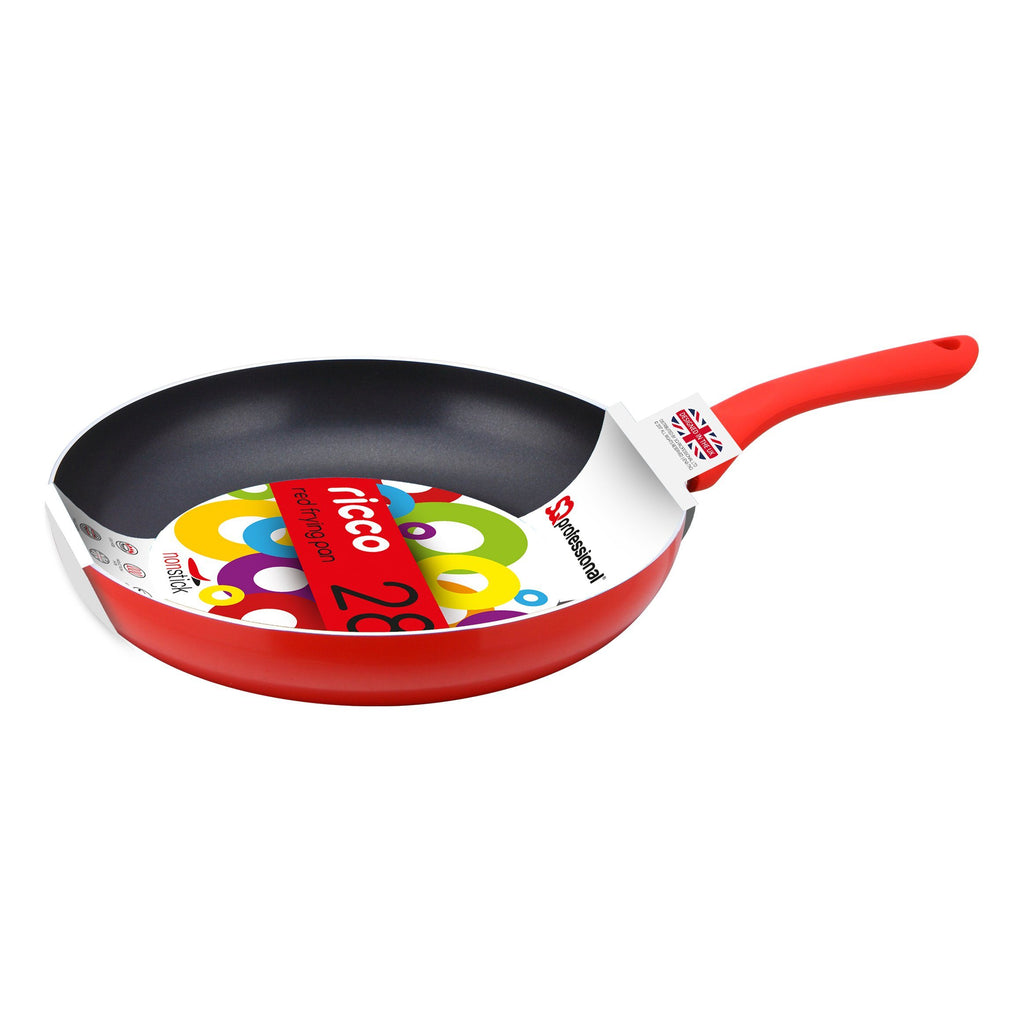 Frying Pans - Ricco Non-stick Ceramic Coated Aluminium Frying Pan 28cm - Red