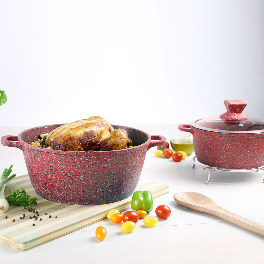 Nessa Granite Casserole Set 5pc Stockpots With Lids 20-32 cm, Red