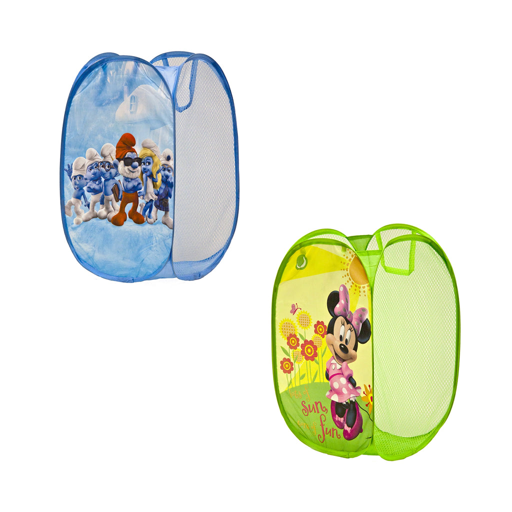 Kids Design Pop Up Toy Storage Basket Laundry Hamper, Assorted Characters