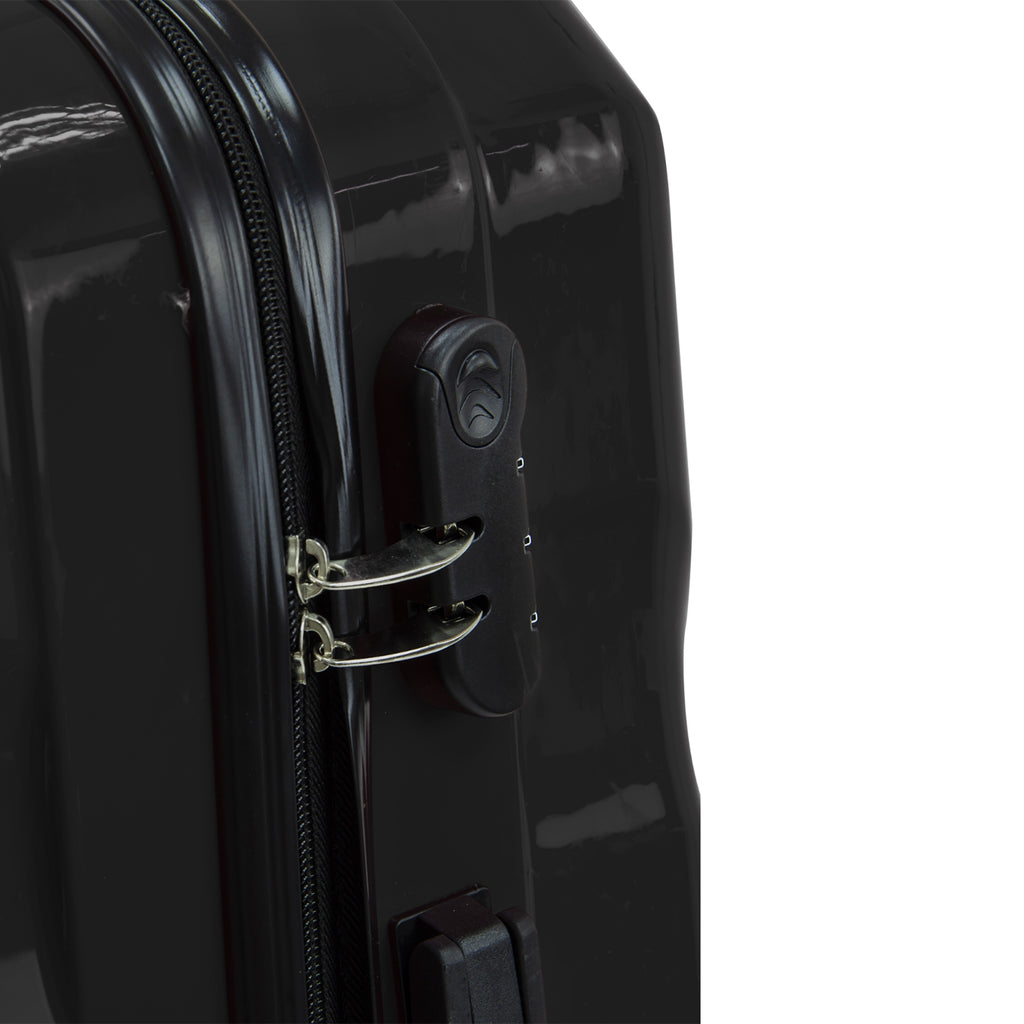 Travel Hard Shell Suitcase Cabin Luggage Bag Trolley - Black, M