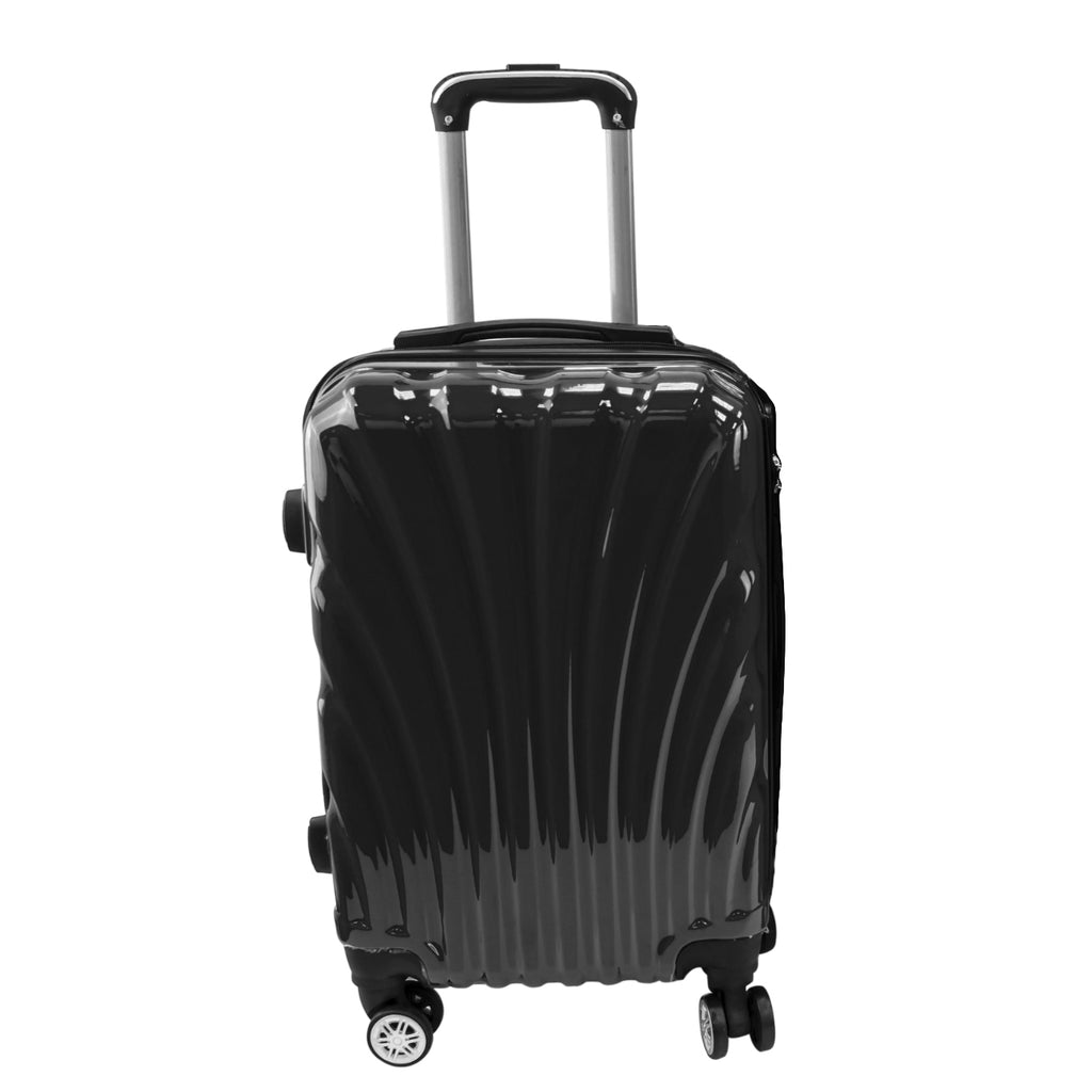 Travel Hard Shell Suitcase Cabin Luggage Bag Trolley - Black, L