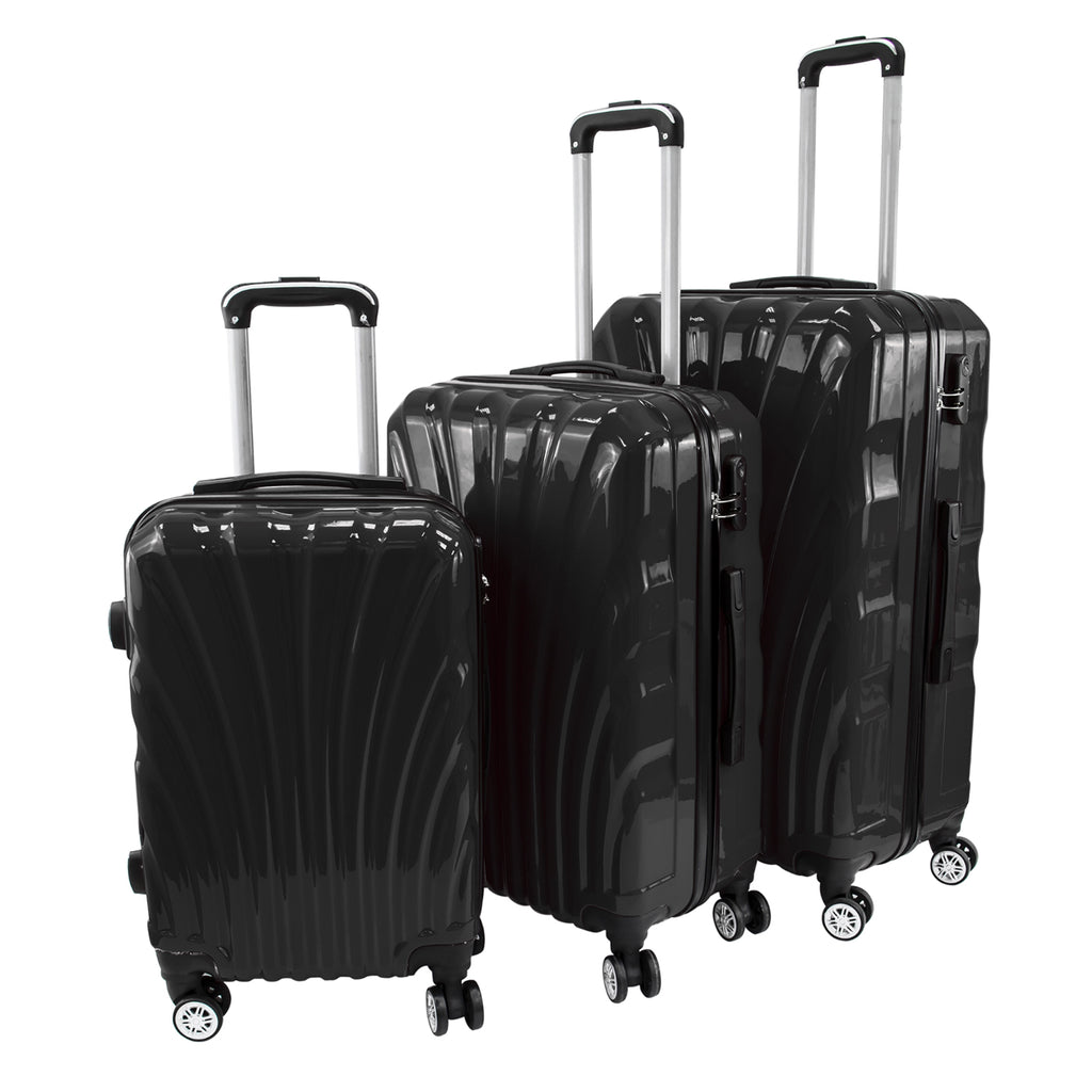 Travel Hard Shell Suitcase Cabin Luggage Bag Trolley - Black, Set