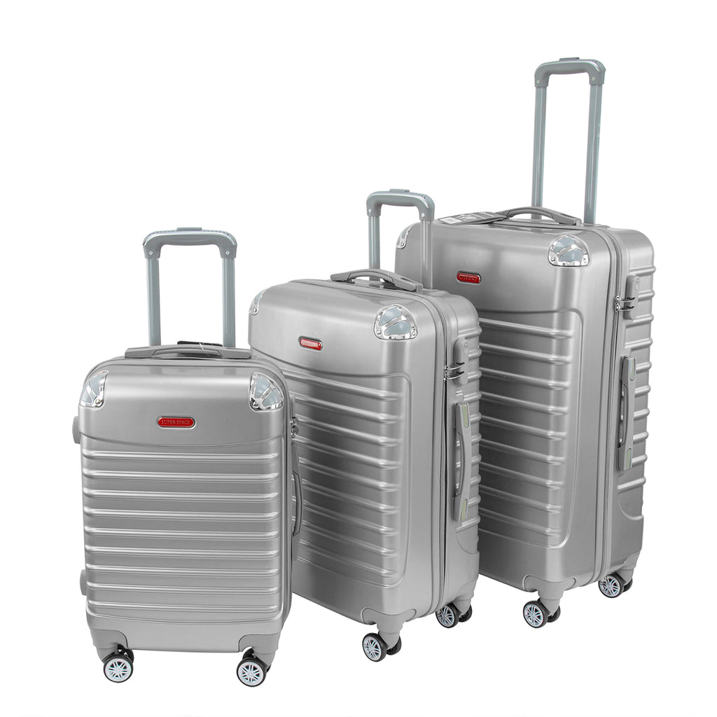 Travel Hard Shell Suitcase Cabin Luggage Bag Trolley, Silver- Set