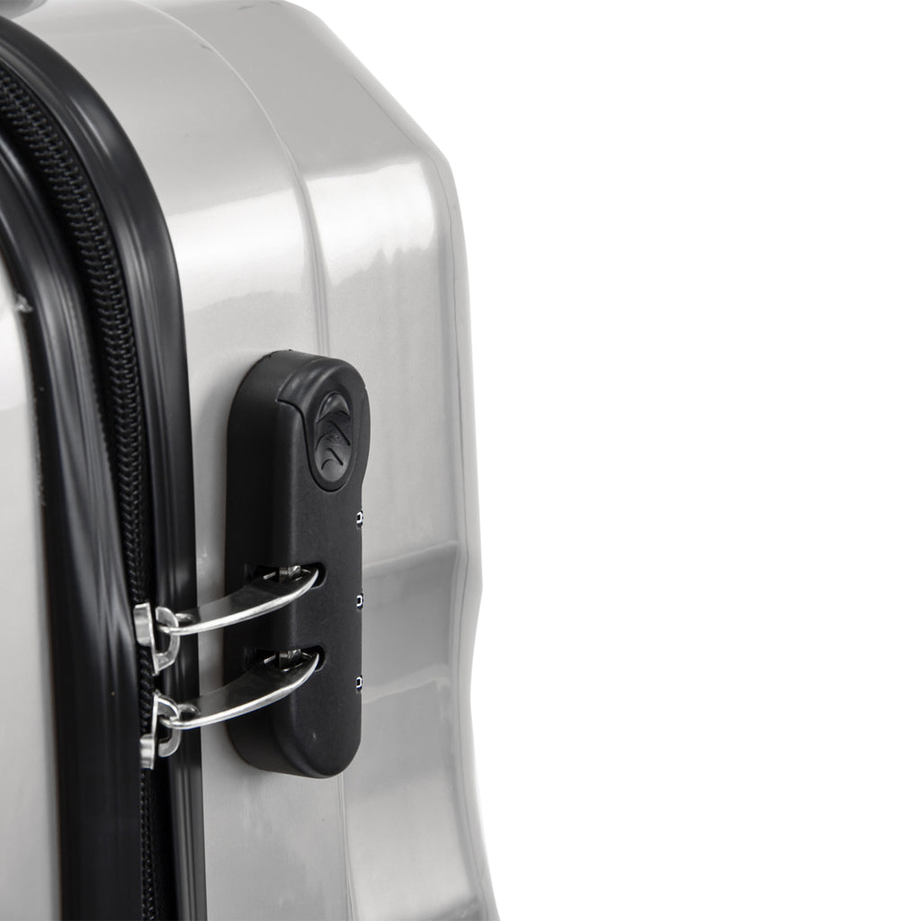 Travel Hard Shell Suitcase Cabin Luggage Bag Trolley - Silver, Set