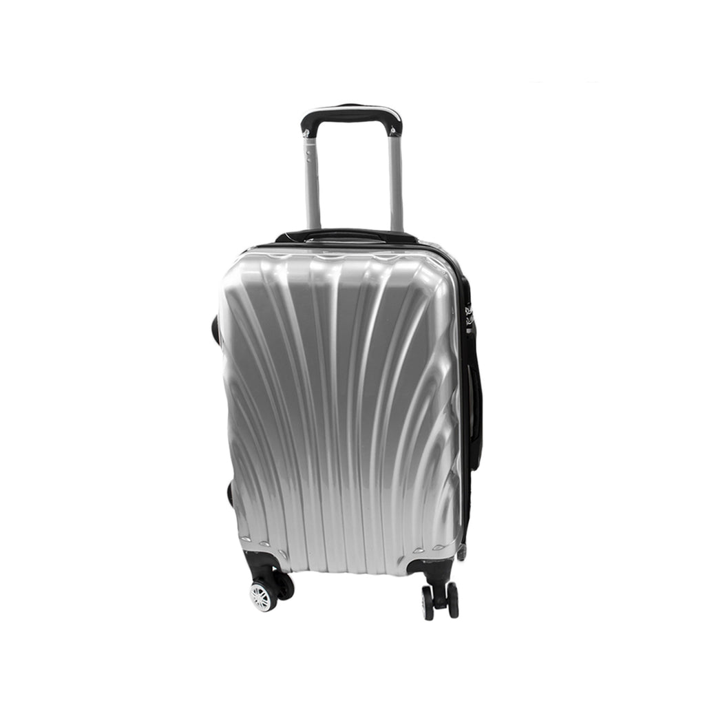 Travel Hard Shell Suitcase Cabin Luggage Bag Trolley - Silver, L