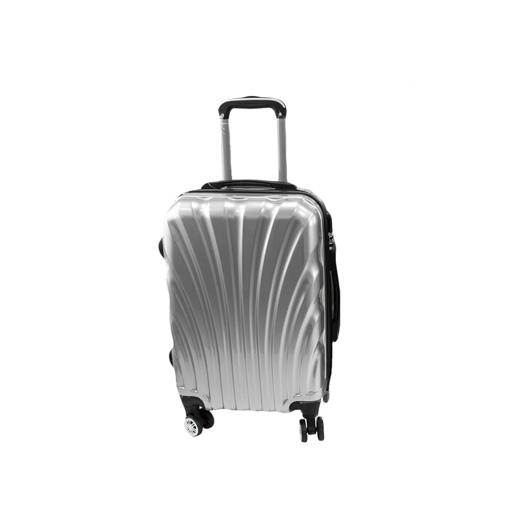 Travel Hard Shell Suitcase Cabin Luggage Bag Trolley - Silver, M