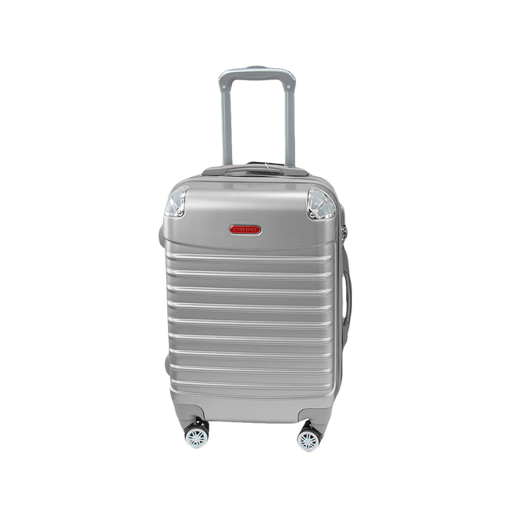 Travel Hard Shell Suitcase Cabin Luggage Bag Trolley, Silver - L
