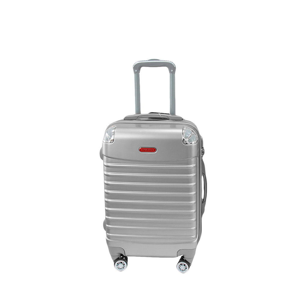 Travel Hard Shell Suitcase Cabin Luggage Bag Trolley, Silver - M
