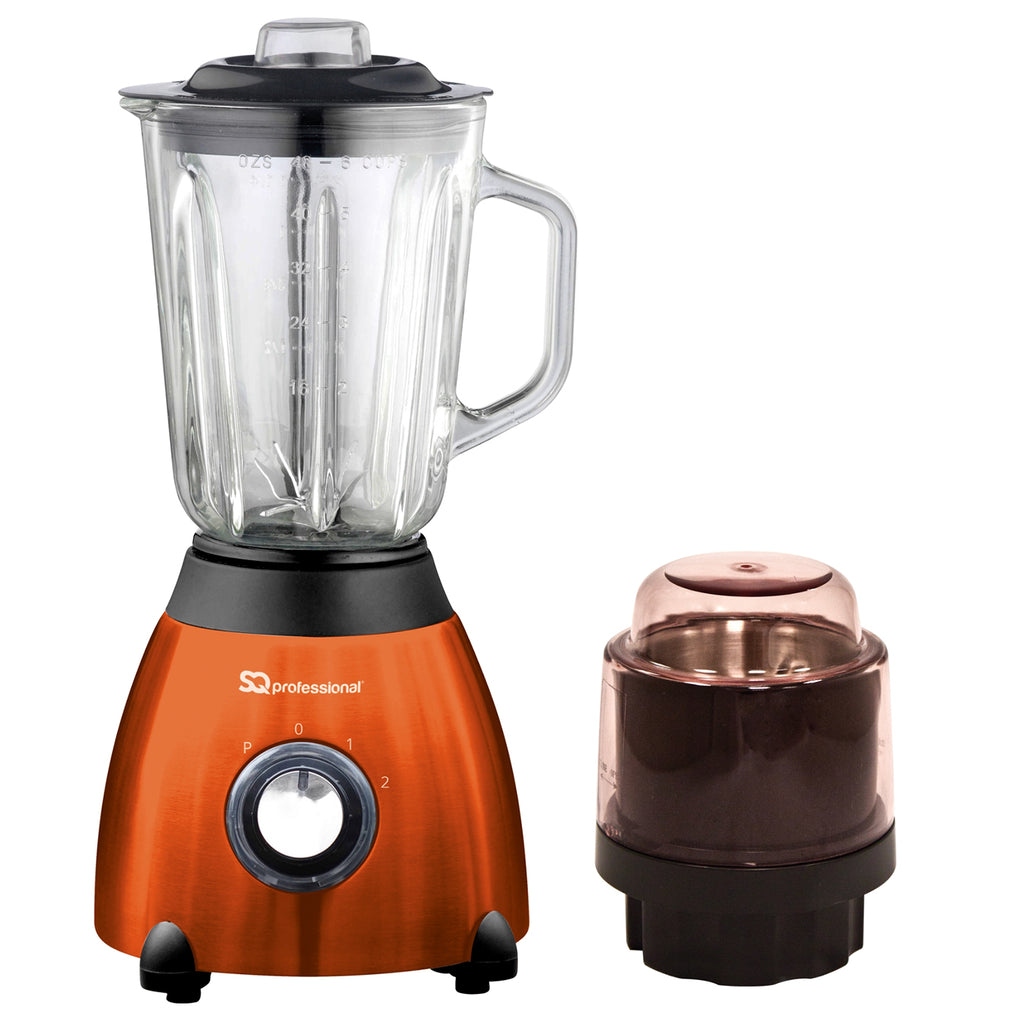 Luminate 500W Blender with 1.5L Glass Measuring Jug & Grinder - Orange