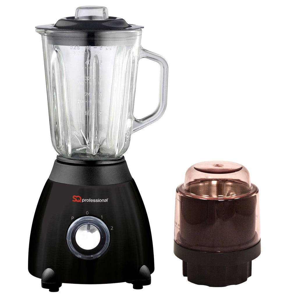 Luminate 500W Blender with 1.5L Glass Measuring Jug & Grinder - Black
