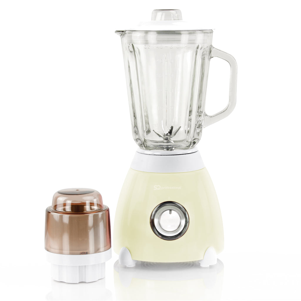Dainty 500W Blender with 1.5L Glass Measuring Jug & Grinder - Cream
