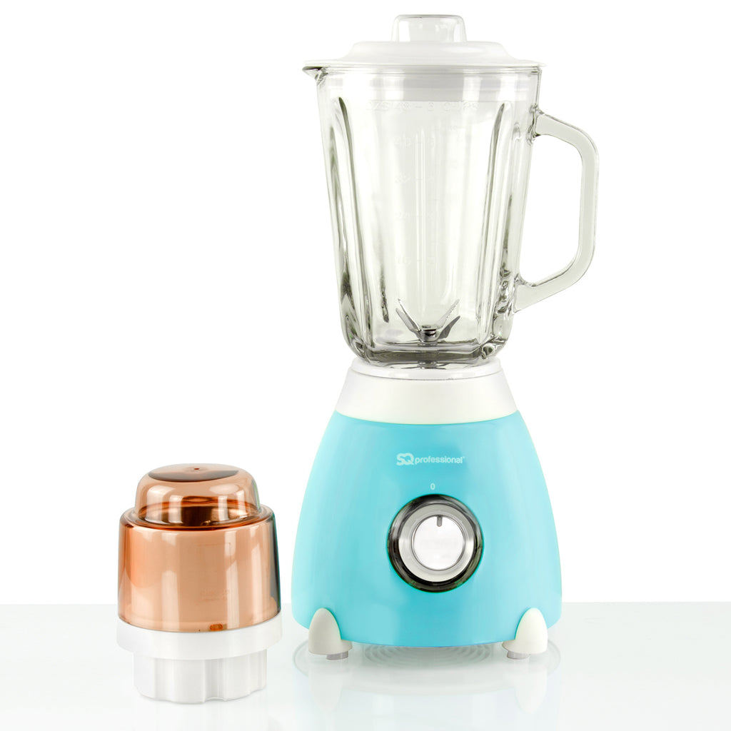 Dainty 500W Blender with 1.5L Glass Measuring Jug & Grinder - Light Blue