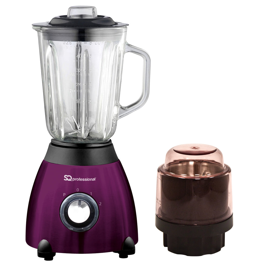 Luminate 500W Blender with 1.5L Glass Measuring Jug & Grinder - Purple