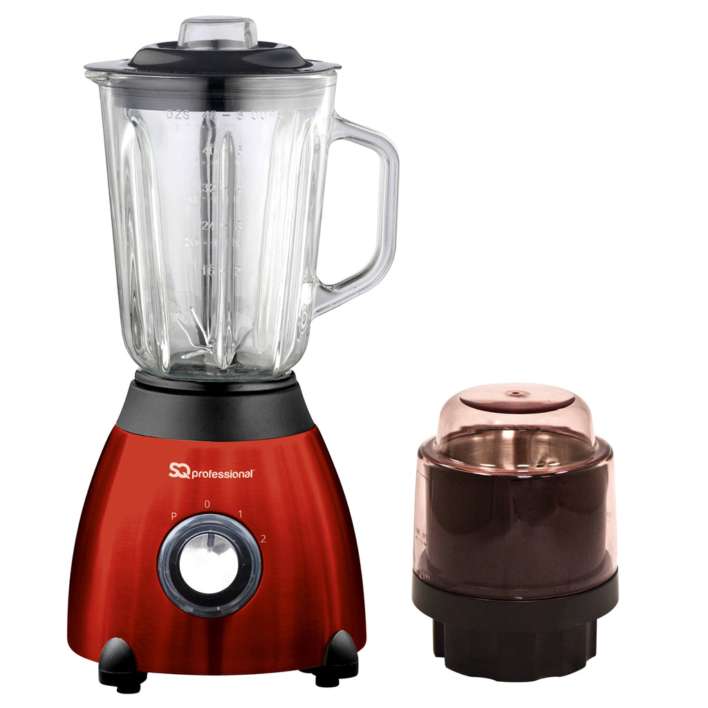 Luminate 500W Blender with 1.5L Glass Measuring Jug & Grinder - Red