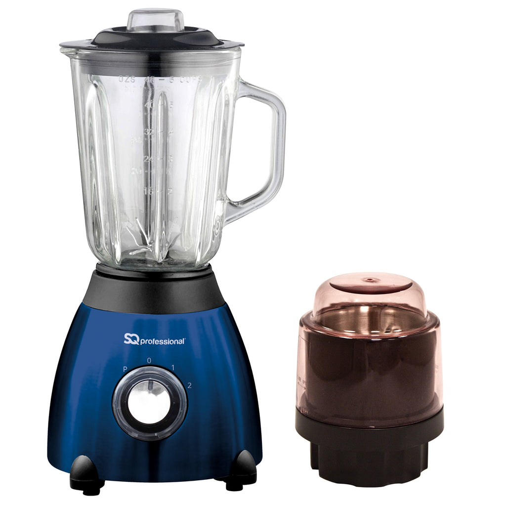 Luminate 500W Blender with 1.5L Glass Measuring Jug & Grinder - Blue