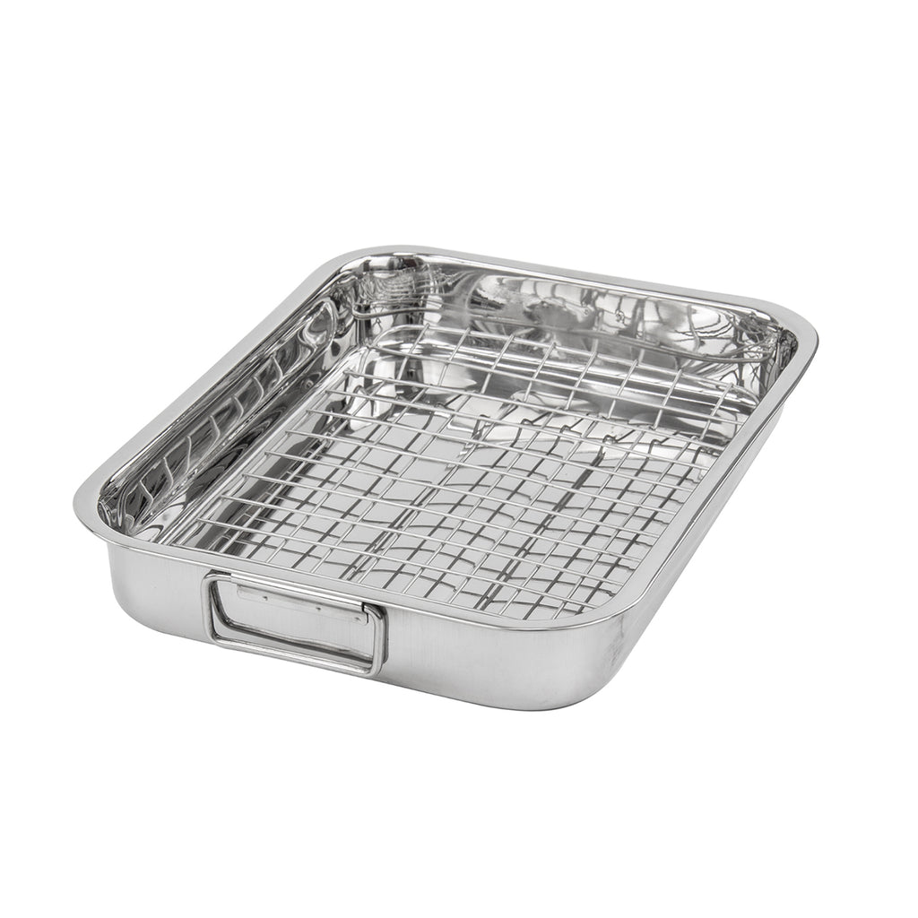 Lustro Stainless Steel Roasting Tray With Rack - 37 cm x 28 cm