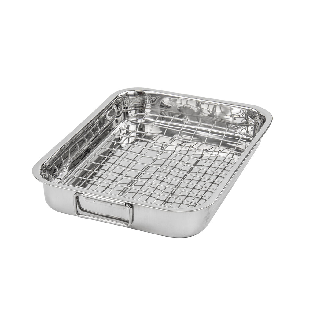 Lustro Stainless Steel Roasting Tray With Rack - 32 cm x 24 cm