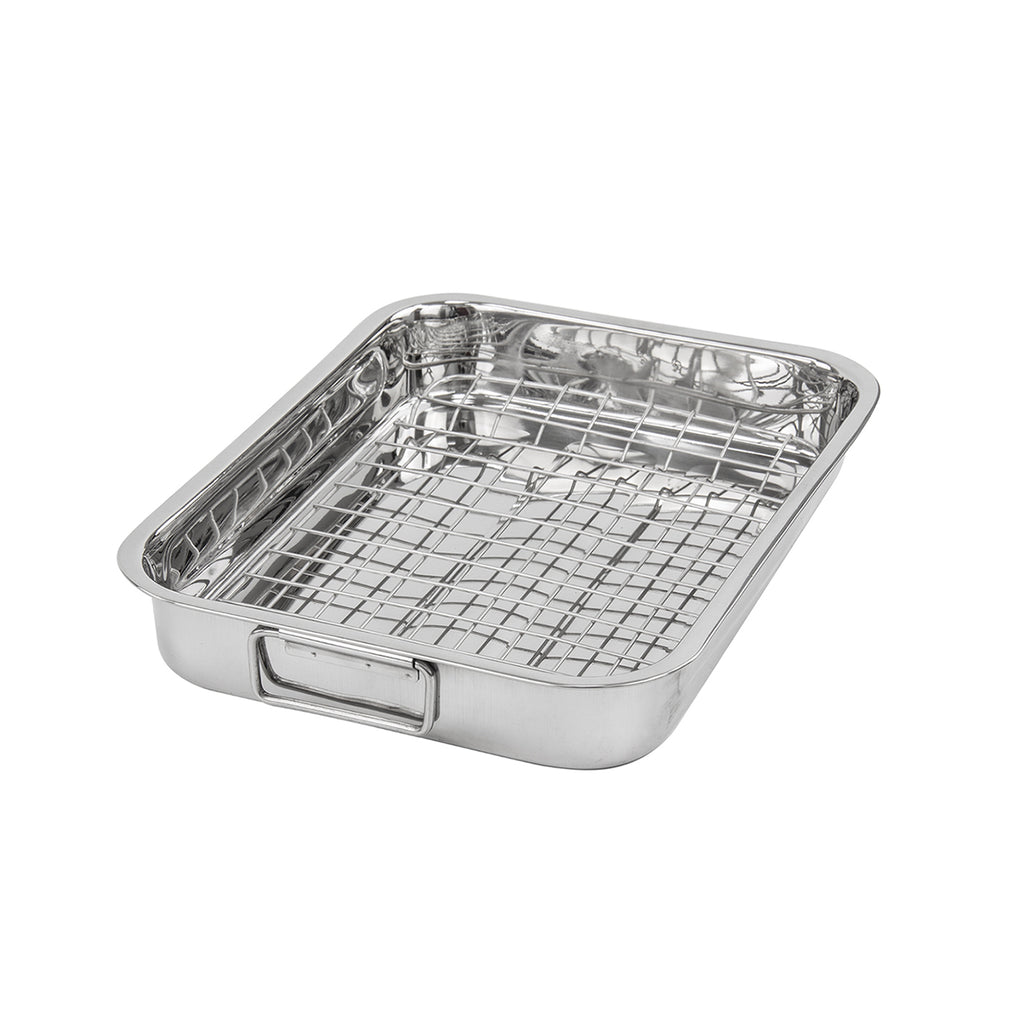 Lustro Stainless Steel Roasting Tray With Rack - 28 cm x 21 cm