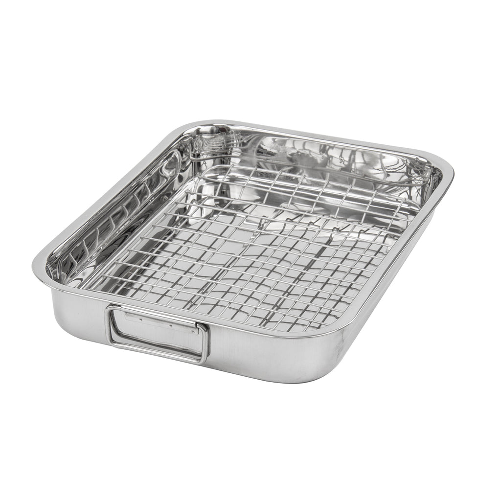 Lustro Stainless Steel Roasting Tray With Rack - 42 cm x 30 cm