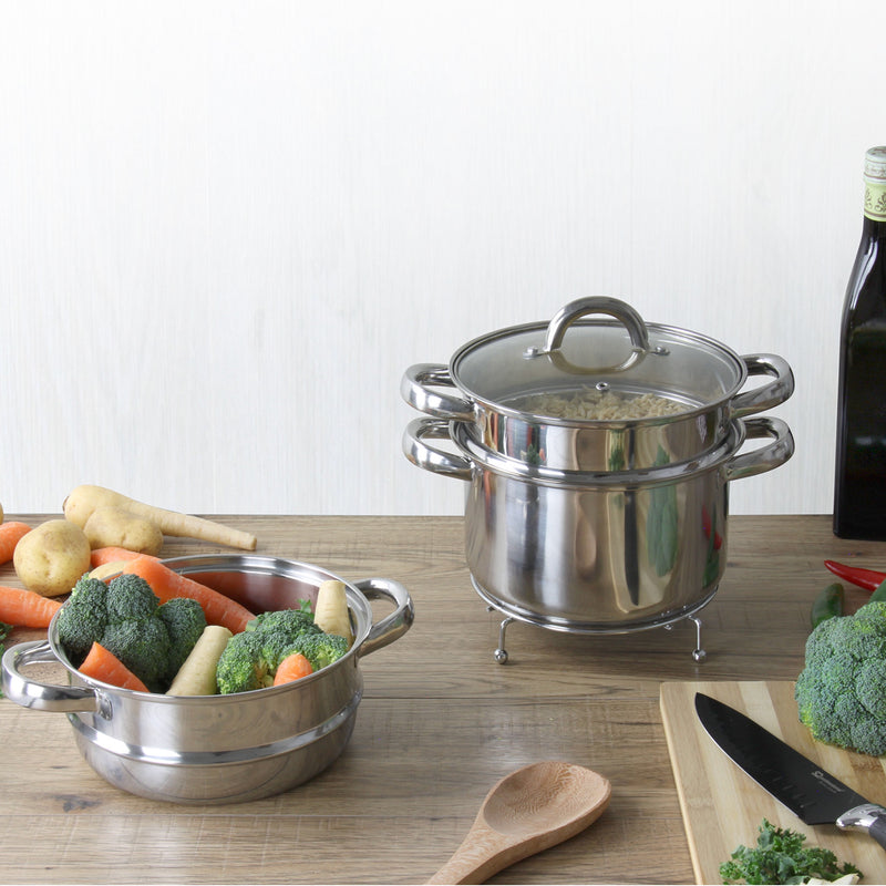 Lustro 3-Tiered Steamer Stockpot with Glass Vented Lid, Stainless Steel - 20 cm