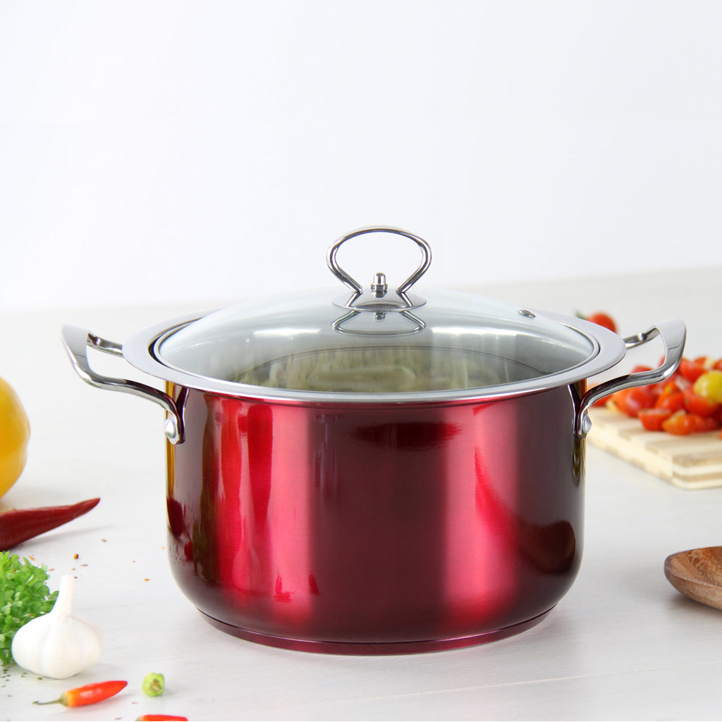 Gems Range Stainless Steel Casserole Set 4pc Stockpots With Lids - Red