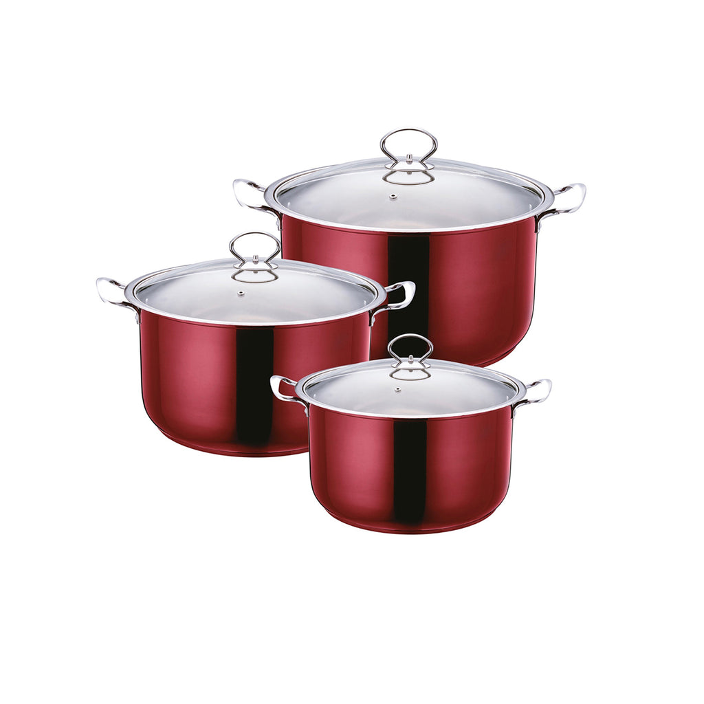 Gems Range Stainless Steel Casserole Set 3pc Stockpots With Lids - Red