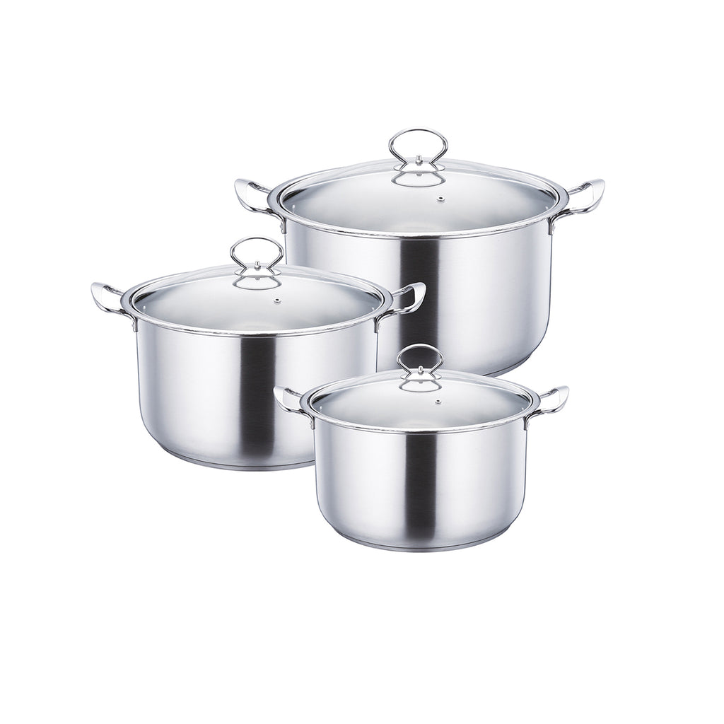 Gems Range Stainless Steel Casserole Set 3pc Stockpots With Lids  - Silver